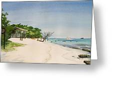 Big Sand At Lime Cay Greeting Card by Anji Worton