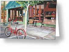 Bike At The Coffee Shop Greeting Card by Colleen Proppe