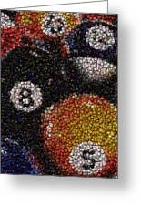 Billiard Ball Bottle Cap Mosaic Greeting Card by Paul Van Scott