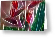 Bird Of Paradise Fractal Panel 2 Greeting Card by Peter Piatt