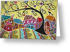 Bird Ten Houses And A Swirl Tree Greeting Card by Karla Gerard