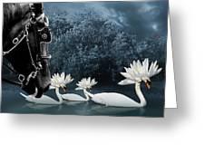 Birds-tribal Swans Greeting Card by Trevor Slauenwhite