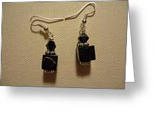 Black Cube Drop Earrings Greeting Card by Jenna Green