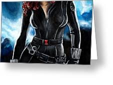 Black Widow Greeting Card by Tom Carlton