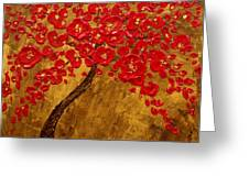 'blossom' Original Impasto Palette Knife Abstract Painting Cherry Tree Greeting Card by Aboli Salunkhe