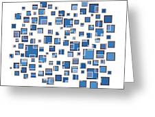 Blue Abstract Rectangles Greeting Card by Frank Tschakert