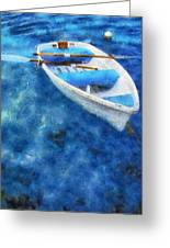 Blue And White. Lonely Boat. Impressionism Greeting Card by Jenny Rainbow