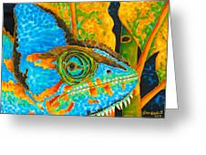 Blue Chameleon Greeting Card by Daniel Jean-Baptiste
