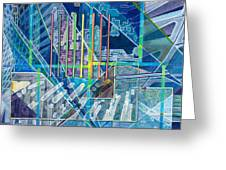 Blue City Day Greeting Card by Jane Bucci