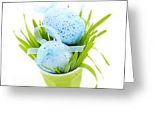 Blue Easter Eggs And Green Grass Greeting Card by Elena Elisseeva