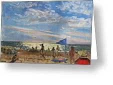 Blue Flag And Red Sun Shade Greeting Card by Andrew Macara