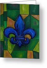 Blue Fleur De Lis Greeting Card by Patti Schermerhorn