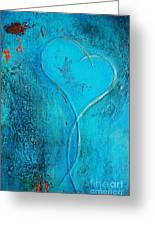 Blue Heart Abstract Greeting Card by Anahi DeCanio