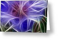 Blue Hibiscus Fractal Panel 5 Greeting Card by Peter Piatt