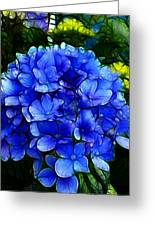 Blue Hydrangea Abstract Greeting Card by Cindy Wright