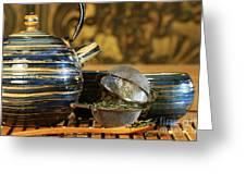 Blue Japanese Teapot Greeting Card by Sandra Cunningham