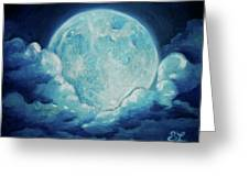 Blue Moon Greeting Card by Sarah Lonthier