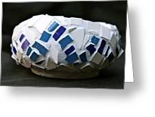 Blue Mosaic Bowl Greeting Card by Ghazel Rashid