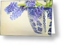 Blue Muscari Flowers In Blue And White China Cup Greeting Card by Lyn Randle