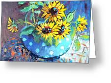 Blue Polka Dot Bowl Greeting Card by Sharon Furner