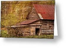 Blue Ridge Mountain Barn Greeting Card by Debra and Dave Vanderlaan