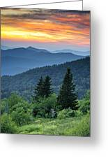 Blue Ridge Parkway Nc Landscape - Fire In The Mountains Greeting Card by Dave Allen