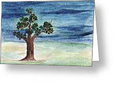 Blue Sky And A Tree Greeting Card by Nasir Iqbal Chaidhri