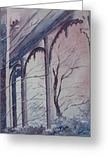 Blue Snow Greeting Card by Patsy Sharpe
