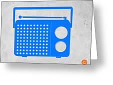 Blue Transistor Radio Greeting Card by Naxart Studio