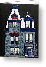 Blue Victorian Mansion Montreal Greeting Card by Robert Handler