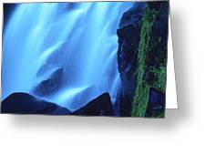 Blue Waterfall Greeting Card by Bernard Jaubert