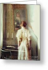 Blurry Image Of A Woman In Vintage Dress  Greeting Card by Sandra Cunningham