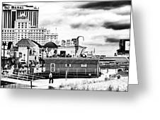 Boardwalk Casinos Greeting Card by John Rizzuto