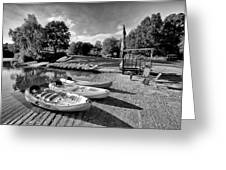Boats At The Pond Greeting Card by Jay Lethbridge