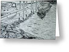 Boats By Mackinac Greeting Card by Jason Sotzen