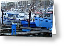 Boats Docked In Harbor Greeting Card by Jeff Lowe