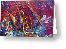 Boats In Calpe 02 Spain Greeting Card by Miki De Goodaboom