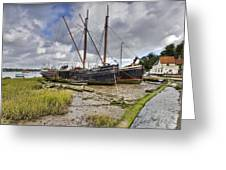 Boats On The Hard At Pin Mill Greeting Card by Gary Eason