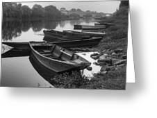 Boats on the Vienne Greeting Card by Debra and Dave Vanderlaan