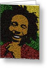 Bob Marley Bottle Cap Mosaic Greeting Card by Paul Van Scott