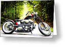 Bobber Harley Davidson Custom Motorcycle Greeting Card by Kim Fearheiley