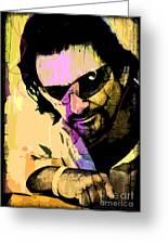 Bono Greeting Card by David Lloyd Glover
