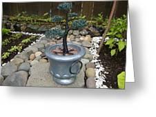 Bonsai Tree Medium Silver Vase Greeting Card by Scott Faucett