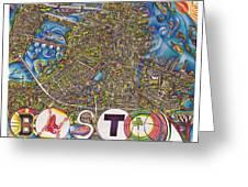 Boston Art Map Greeting Card by Jonathan 'DiNo' DiNapoli