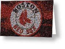 Boston Red Sox Bottle Cap Mosaic Greeting Card by Paul Van Scott