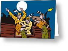 Boston Tea Party Raiders Retro Greeting Card by Aloysius Patrimonio