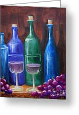 Bottles And Grapes Greeting Card by Pauline Ross
