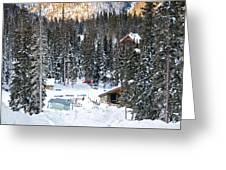 Bottom Of Ski Slope Greeting Card by Lisa  Spencer