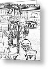 Bourbon Street Sign And Lamp Covered In Beads Black And White Photocopy Digital Art Greeting Card by Shawn O'Brien
