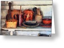Bowls Basket and Wooden Spoons Greeting Card by Susan Savad